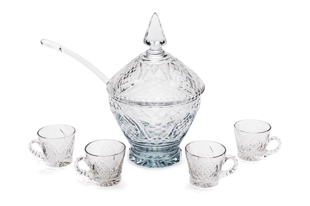 Ponchera en cristal tallado con cazo y cuatro vasos en cristal tallado s xx anteo subastas - Vasos grandes cristal ...