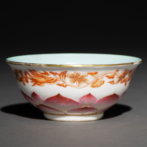 Cuenco en porcelana china pintado a mano. Trabajo Chino, Siglo XIX-XX