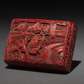 Caja China rectangular en laca roja. Trabajo Chino, Siglo XX