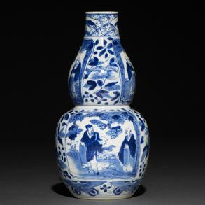Jarrón en forma de calabaza en porcelana china azul y blanca. Trabajo Chino, Siglo XIX