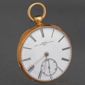 Reloj de bolsillo en oro amarillo de 18 Kt, Francia Siglo XIX