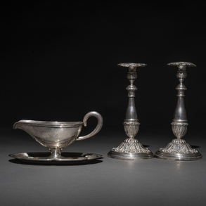 Conjunto de candeleros del siglo XIX y Salsera del siglo XX en plata española punzada.