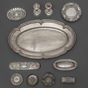 Miscelánea de piezas de plata española punzonada. Siglo XX