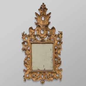 Espejo Italiano en madera tallada y dorada. Trabajo Italiano, Siglo XVIII
