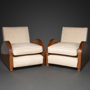 Pareja de butacas Art Decó en madera tapizadas en blanco. Siglo XX