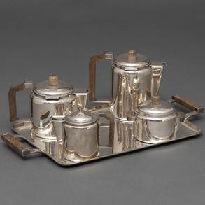 Juego de Café Art Decó en plata española punzada. Siglo XX