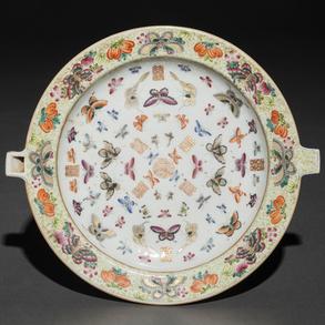 Calentador de porcelana familia verde. Trabajo Chino, Siglo XIX