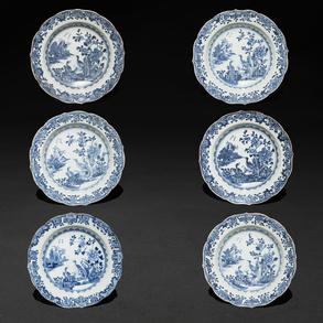 Conjunto de seis platos en porcelana china azul y blanca. Trabajo Chino, Siglo XVIII