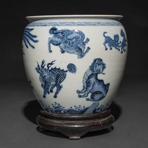 Pecera en porcelana china azul y blanco. Trabajo Chino, Siglo XIX-XX