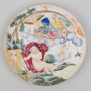 Plato en porcelana china. Trabajo Chino, Siglo XIX