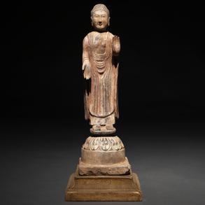 Figura de buda realizado en terracota policromado. Trabajo Chino, Siglo XIX