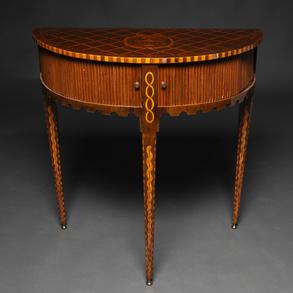 Mueble de persiana  cilíndrico  época Neoclásica  en madera de caoba con marquetería. Siglo XVIII