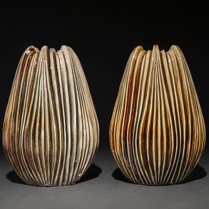 Pareja de centros de mesa en cerámica vidriada de los años 70.