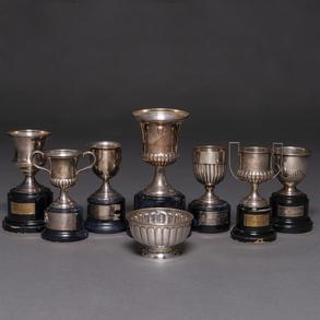 Conjunto de 7 trofeos en plata española punzonada. Siglo XX.