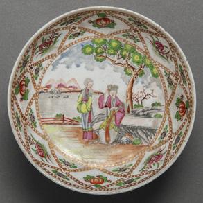 Plato en porcelana china de Compañía de Indias del siglo XVIII.