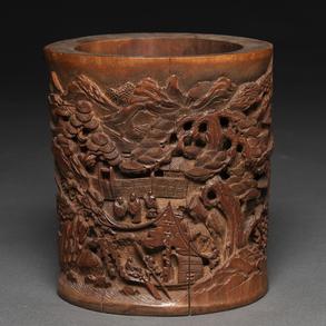 Bote de pinceles en madera de bambú. Trabajo Chino, Siglo XX