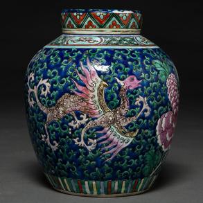 Tibor en porcelana China familia rosa. Trabajo Chino, Siglo XIX-XX