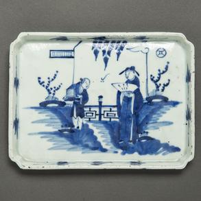 Fuente rectangular en porcelana china azul y blanca. Trabajo Chino, Siglo XIX