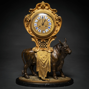 Importante Reloj de sobremesa francés Napoleón III en bronce dorado y bronce pavonado. Trabajo Francés, Siglo XIX