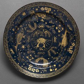 Plato en porcelana china Powder blue. Trabajo Chino, Siglo XIX-XX