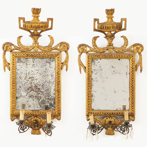 Pareja de cornucopias época Imperio en madera tallada y dorada. Trabajo francés, h.1810