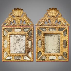 Pareja de espejos en madera tallada y dorada época Carlos IV. Trabajo Español, Siglo XVIII