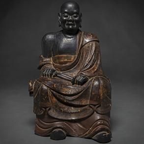 Buda en madera tallada y policromada. Trabajo Japonés, Siglo XVIII-XIX