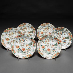 Conjunto de seis platos en porcelana china familia verde. Trabajo Chino, Siglo XIX