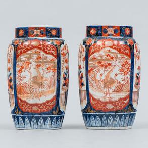 Pareja de jarrones en porcelana Japonesa de Imari. Siglo XIX