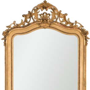 Importante espejo de salón estilo Luís XV en madera tallada estucado y dorado. Trabajo Francés, Siglo XIX
