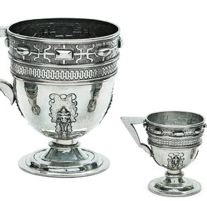 Conjunto de jarra y tres copas en plata española y punzonada. Siglo XX, Ley, 925.