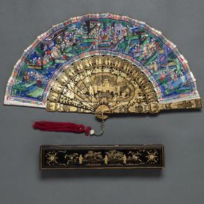 Abanico Chino de las mil caras del siglo XIX