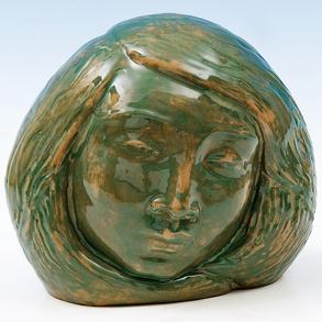 """""""Cabeza de Mujer"""" Escultura de bulto redondo en barro policromado."""