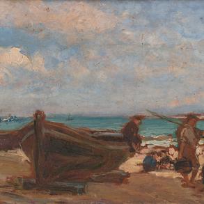 """""""Pescadores con barcas en la playa"""""""