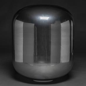 Lámpara de sobremesa o de suelo en cristal de Murano de color plateado. Trabajo Italiano años 70.