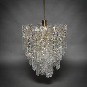 KINKELDEY, Lámpara vintage  de de nueve luces en cristal y acero cromado en dorado. Años 60-70