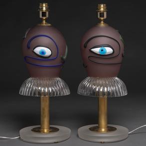 Pareja de lámparas de mesa en cristal de Murano en forma de bailarina. h. 1970-80