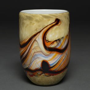 Jarrón en cristal de Murano con el interior de color blanco. h. 1970-80