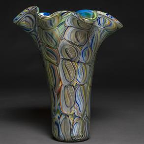 Bonito jarrón florero en cristal de Murano color verde y azul a modo de ágata. Italia años 80.
