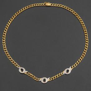 Gargantilla en oro amarillo de 18 Kt con diamantes talla brillante y zafiros