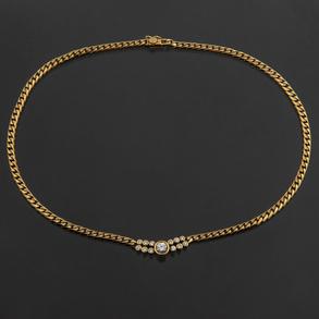 Elegante gargantilla en oro amarillo de 18 kt con diamante central talla brillante de 0,50 Qt