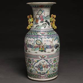 Jarrón en porcelana China familia rosa. Trabajo Chino del siglo XIX