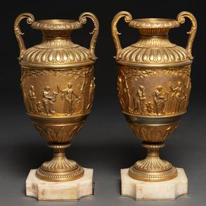 Pareja de copas estilo Neoclásico en bronce dorado. Trabajo Francés, Finales del siglo XIX
