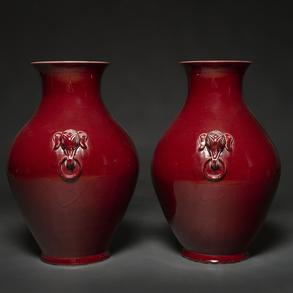 Pareja de jarrones en porcelana China Sang de Beauf. Trabajo Chino, h. 1960