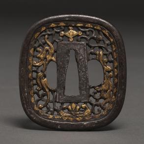 Tsuba de katana japonesa en bronce época Meiji(1868-1912)