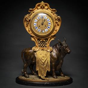 Importante Reloj de sobremesa francés Napoleón III en bronce dorado y bronce pavonado. Siglo XIX