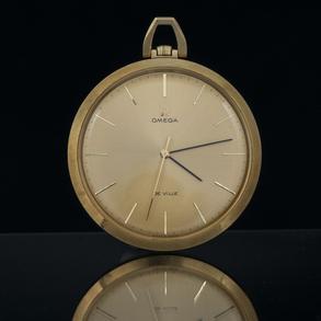 OMEGA- DE VILLE - Reloj de bolsillo Vintage en oro amarillo de 18 kt.