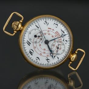 ZENITH - Reloj de bolsillo Cronógrafo Vintage en oro amarillo de 18 Kt.