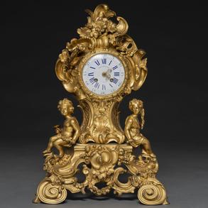 Balthazard á Paris - Reloj de sobremesa francés en bronce dorado, Trabajo Francés, S. XIX