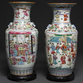 Pareja de jarrones chinos en porcelana familia rosa. Trabajo Chino, Siglo XIX-XX